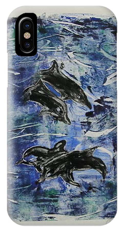 Monotype IPhone X Case featuring the mixed media The Deep Sea by Cori Solomon