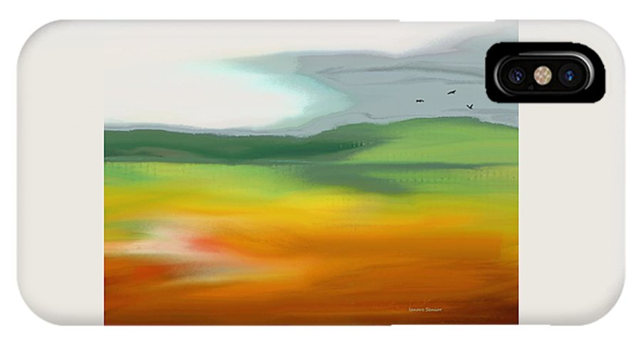 Abstract IPhone X Case featuring the painting The Distant Hills by Lenore Senior