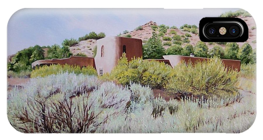 Usa IPhone X Case featuring the painting The Dixon House by Mary Rogers
