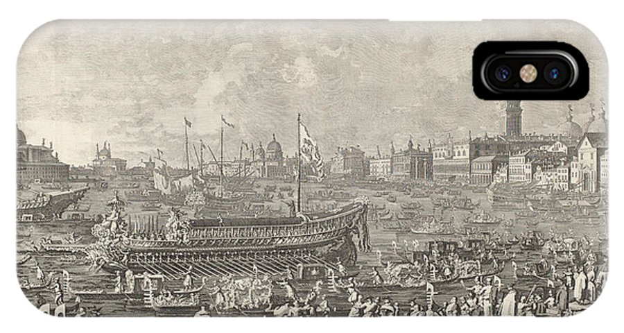 IPhone X Case featuring the drawing The Doge In The Bucintoro Departing For The Porto Di Lido On Ascension Day by Giovanni Battista Brustolon After Canaletto
