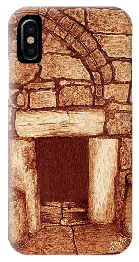 Door Of Humility Painting IPhone X Case featuring the painting The Door Of Humility At The Church Of The Nativity Bethlehem by Georgeta Blanaru