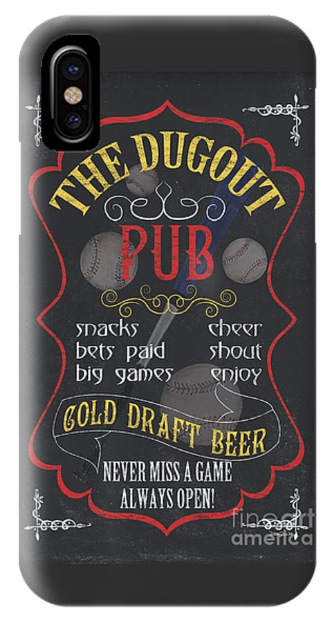 Beer IPhone X Case featuring the painting The Dugout Pub by Debbie DeWitt