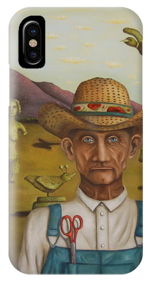 Landscape IPhone X / XS Case featuring the painting The Eccentric Farmer by Leah Saulnier The Painting Maniac