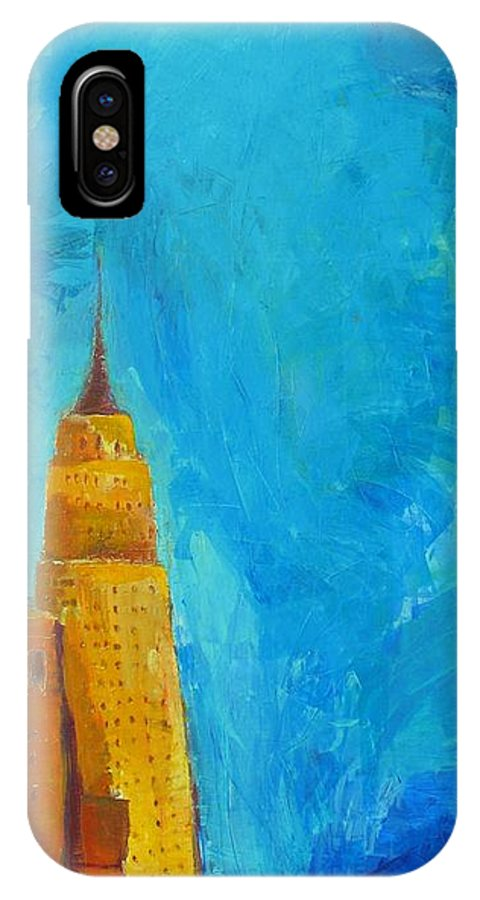 Abstract Cityscape IPhone X Case featuring the painting The Empire State by Habib Ayat