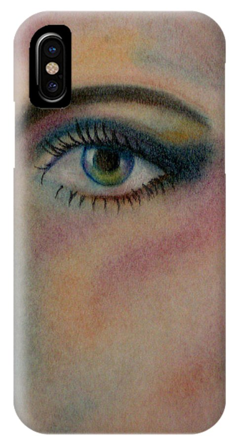 Eye IPhone X Case featuring the pastel The Eye by Belinda Buckler