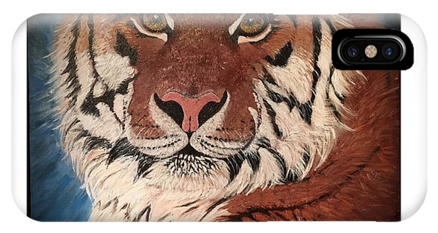 Tiger IPhone X Case featuring the painting Boldness Unchained by Carlaj Sanders