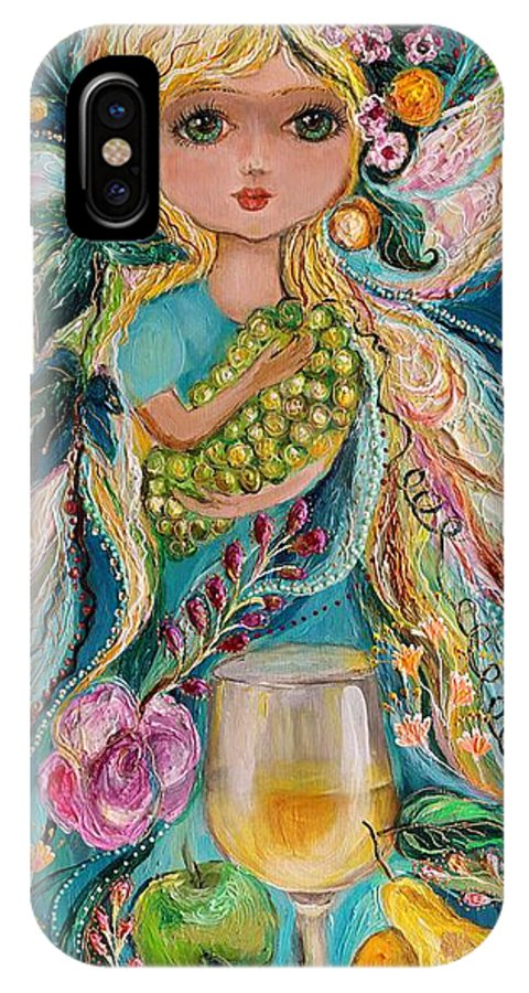 Modern Jewish Art IPhone X Case featuring the painting The Fairies Of Wine Series - Chardonnay by Elena Kotliarker