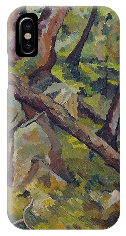 Impressionism IPhone X Case featuring the painting The Fallen Tree by Don Perino