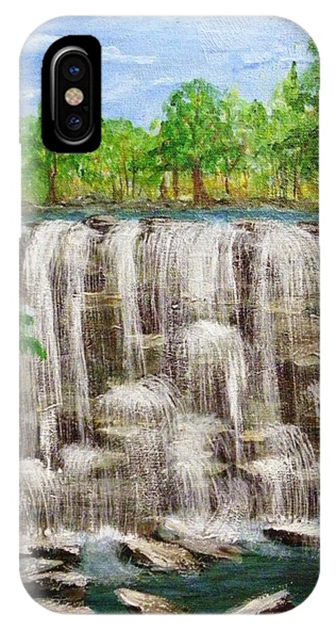 Acylics IPhone X Case featuring the painting The Falls by Peggy King