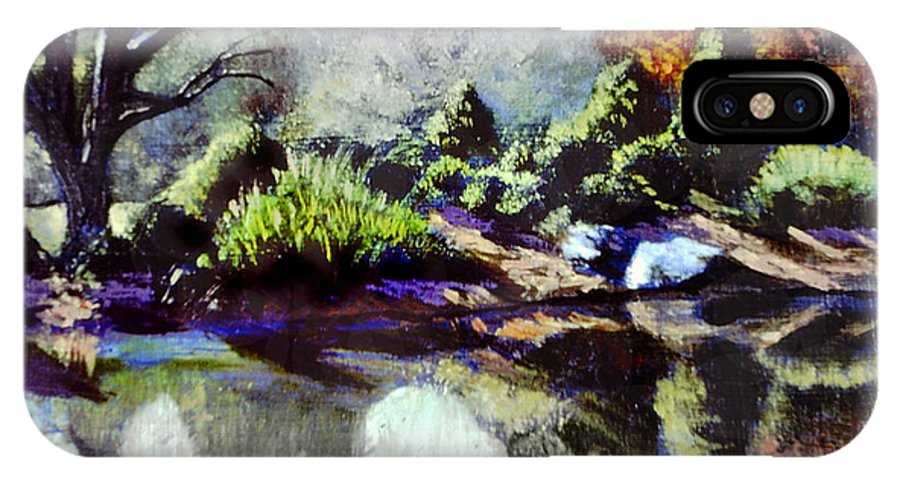 Brookside Garden Pond In The Early Morning IPhone X Case featuring the painting The Far Bank by David Zimmerman