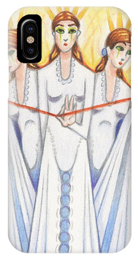 Fate IPhone X Case featuring the drawing The Fates by Amy S Turner