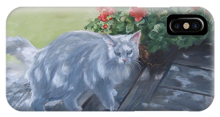 Cat IPhone X Case featuring the painting A Feral Cloud by Connie Schaertl