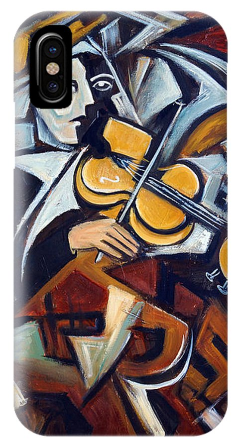 Musician IPhone X Case featuring the painting The Fiddler by Valerie Vescovi