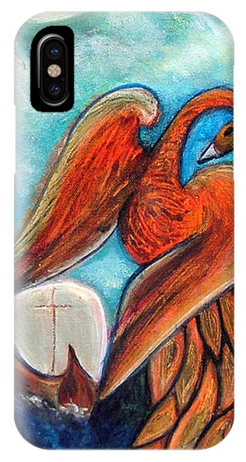 Firebird IPhone X Case featuring the painting The Firebird And The Sailboat by Pilar Martinez-Byrne
