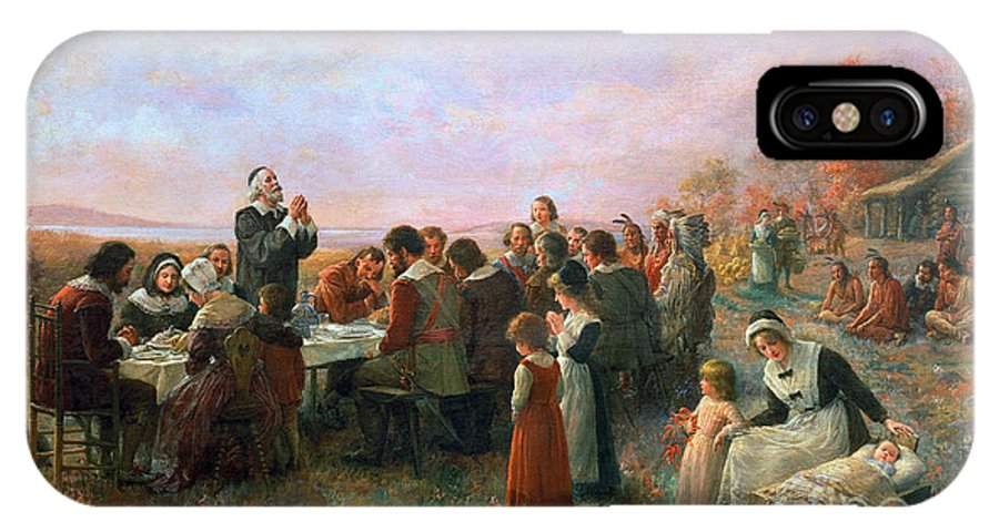 1621 IPhone X / XS Case featuring the photograph The First Thanksgiving by Granger