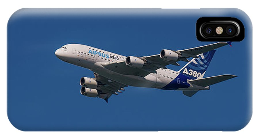 Airbus IPhone X Case featuring the pyrography The Firts Airbus A380 by Javier Flores