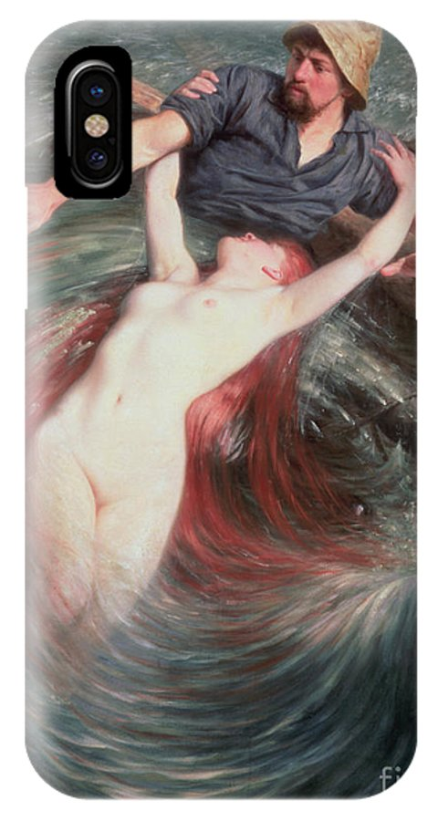 The IPhone X Case featuring the painting The Fisherman And The Siren by Knut Ekvall