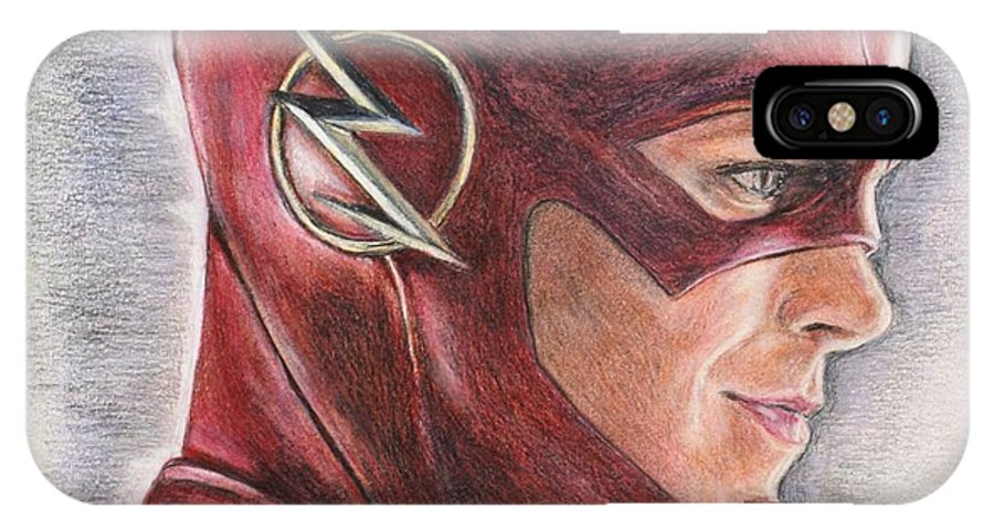 The Flash IPhone X Case featuring the drawing The Flash / Grant Gustin by Christine Jepsen