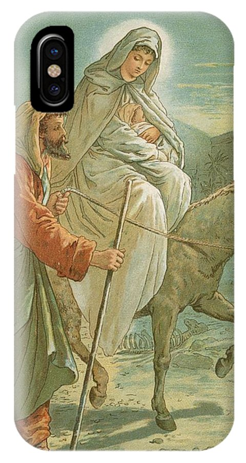 Bible; The Flight Into Egypt; Donkey; Jesus Christ; Baby; Joseph; Virgin Mary; Night; Desert IPhone X Case featuring the painting The Flight Into Egypt by John Lawson
