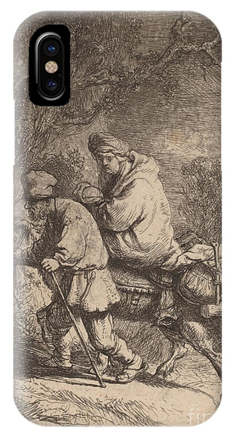 IPhone X Case featuring the drawing The Flight Into Egypt: Small by Rembrandt Van Rijn