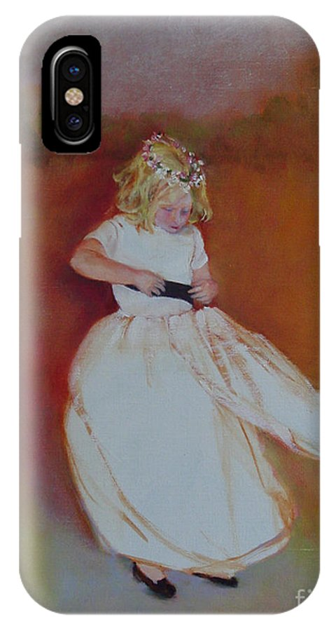 Contemporary Portrait IPhone X Case featuring the painting The Flower Girl Copyrighted by Kathleen Hoekstra
