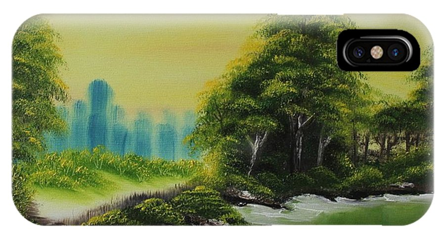 Trees IPhone X Case featuring the painting The Forest by Nadine Westerveld