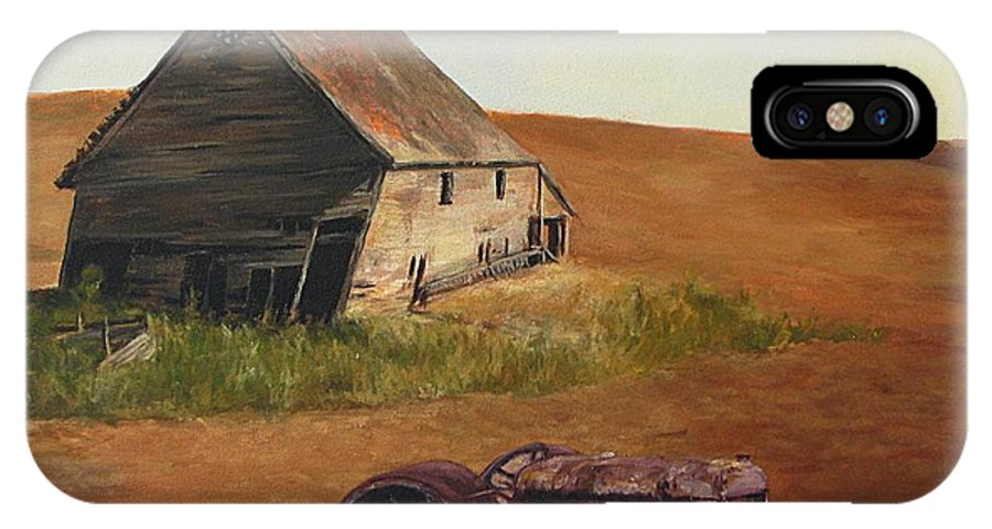 Oil Paintings IPhone X Case featuring the painting The Forgotten Farm by Chris Neil Smith
