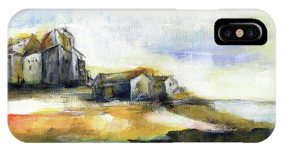 Abstract Landscape IPhone X Case featuring the painting The Fortress by Aniko Hencz