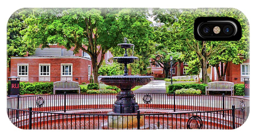 Fountain IPhone X Case featuring the photograph The Fountain At Radford University by Kerri Farley