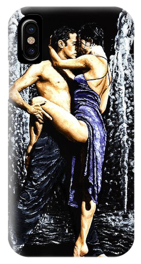 Tango IPhone X Case featuring the painting The Fountain Of Tango by Richard Young