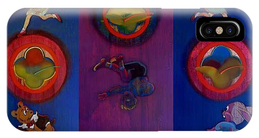 The Drums Of The Fruit Machine Stop At Random. Triptych IPhone X Case featuring the painting The Fruit Machine Stops II by Charles Stuart