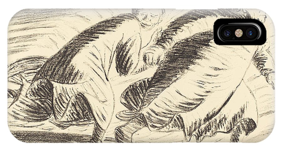 IPhone X Case featuring the drawing The Fugitives by Ernst Barlach