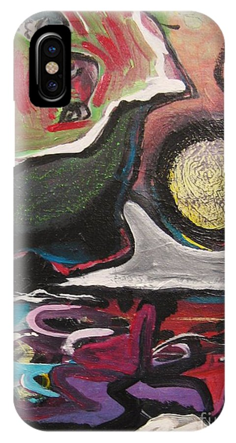 Abstract Paintings IPhone Case featuring the painting The Full Moon2 by Seon-Jeong Kim