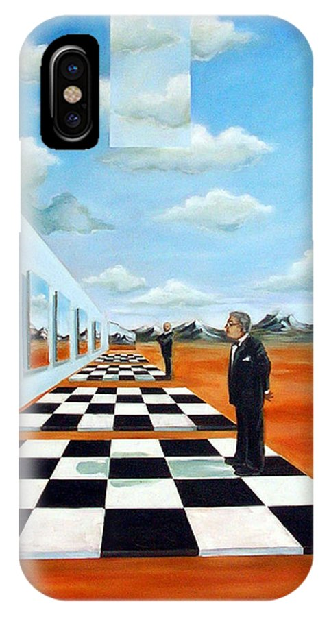Surreal IPhone Case featuring the painting The Gallery by Valerie Vescovi