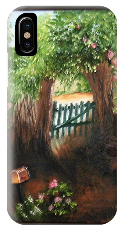 Garden IPhone Case featuring the painting The Garden Gate by Maria Mills