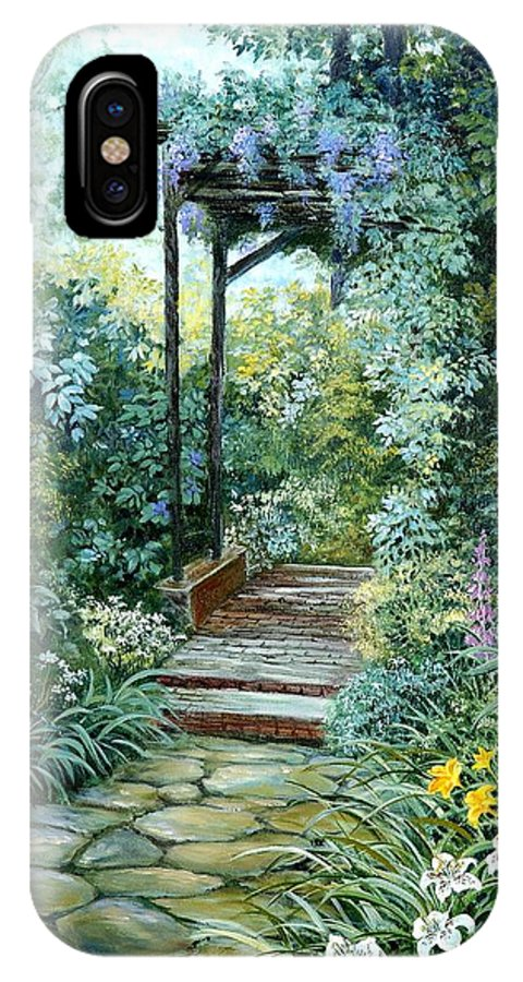 Oil Painting;wisteria;garden Path;lilies;garden;flowers;trellis;trees;stones;pergola;vines; IPhone X Case featuring the painting The Garden Triptych Right Side by Lois Mountz
