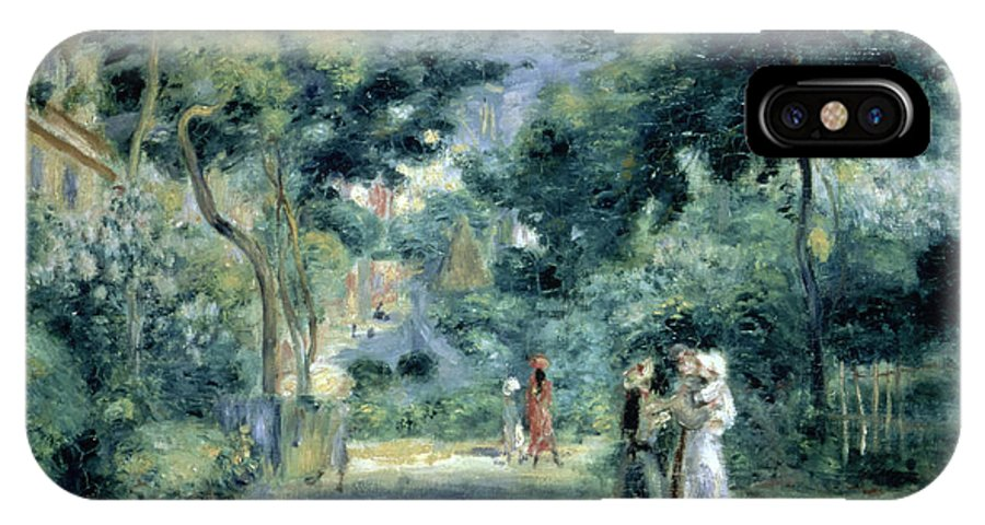 The Gardens In Montmartre IPhone X Case featuring the painting The Gardens In Montmartre by Pierre Auguste Renoir