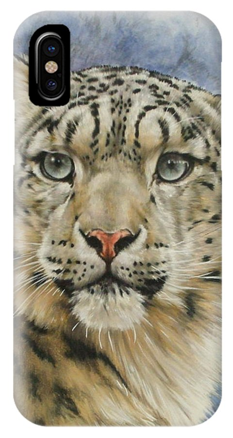 Snow Loepard IPhone Case featuring the mixed media The Gaze by Barbara Keith