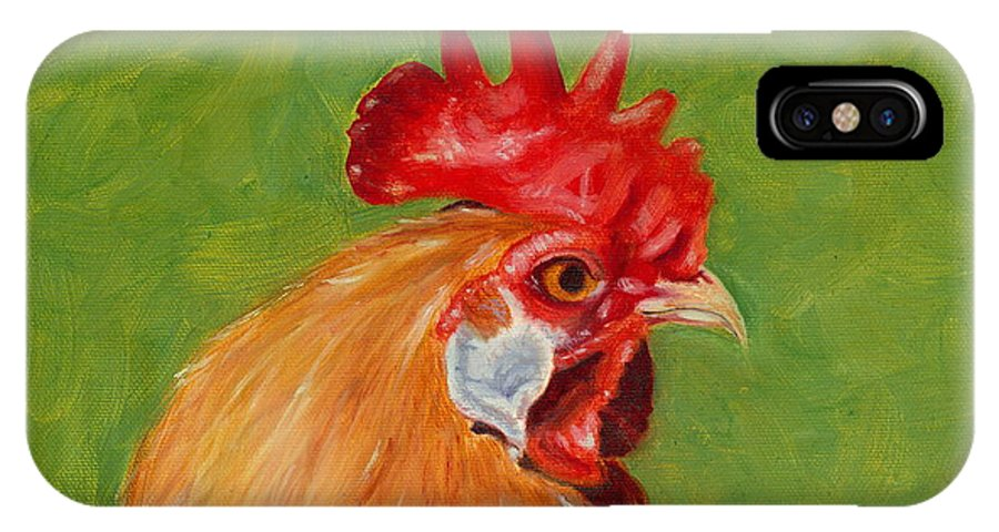 Rooster IPhone Case featuring the painting The Gladiator by Paula Emery