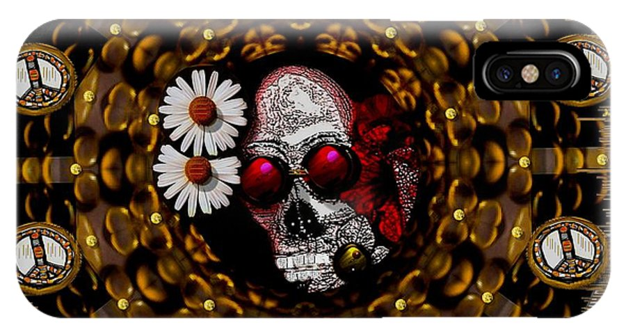 Skull IPhone X Case featuring the mixed media The Global Economy In Art by Pepita Selles