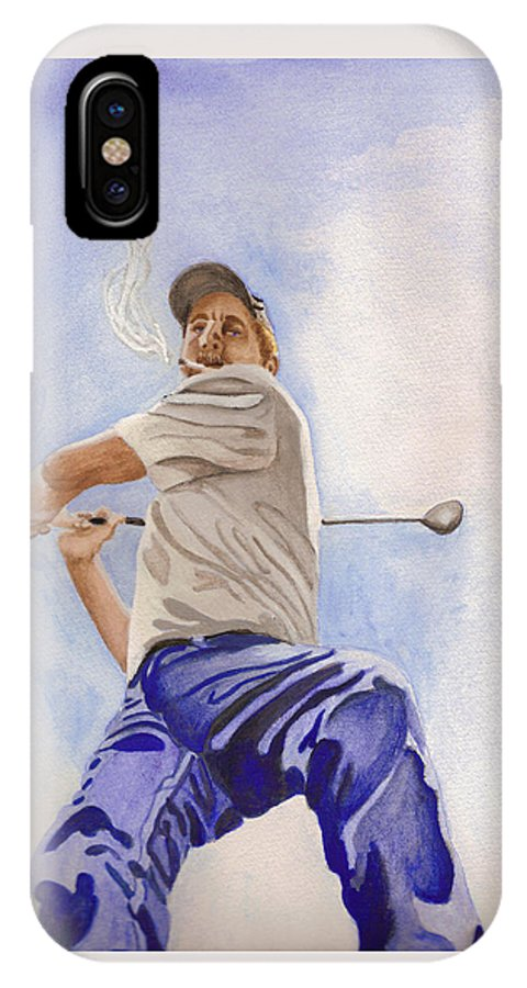 Figure IPhone X Case featuring the painting The Golfer by Lois Boyce