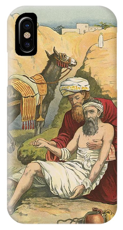 Bible; Children's; Jesus Christ; Samaritan; Donkey IPhone X Case featuring the painting The Good Samaritan by English School