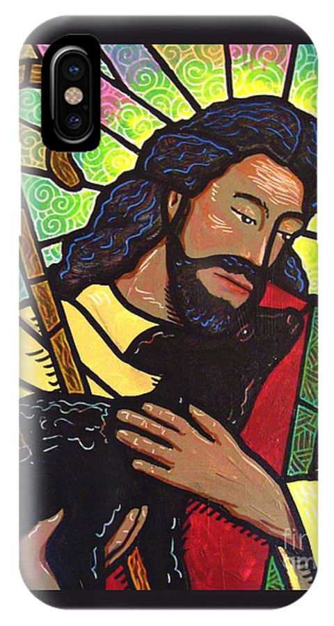 Jesus IPhone X Case featuring the painting The Good Shepherd - Practice Painting Two by Jim Harris