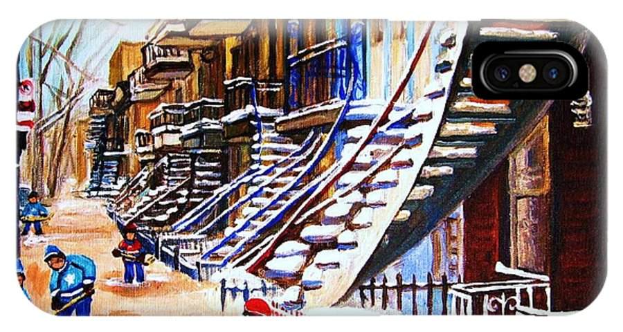 Hockey IPhone Case featuring the painting The Gray Staircase by Carole Spandau