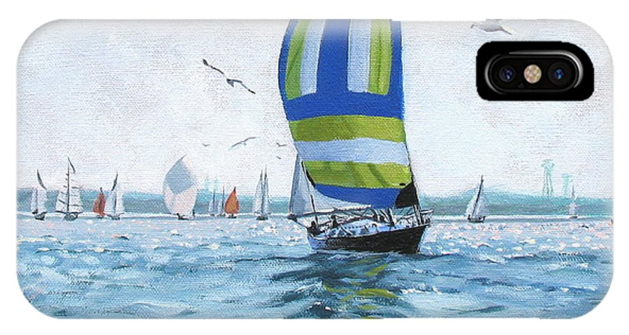 Oil Painting IPhone Case featuring the painting The Great Race 06 by Laura Lee Zanghetti