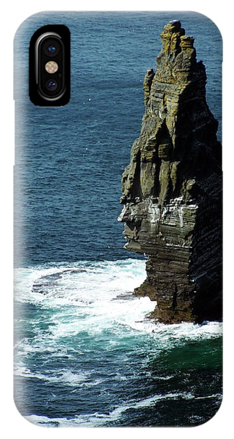 Irish IPhone X Case featuring the photograph The Great Sea Stack Brananmore Cliffs Of Moher Ireland by Teresa Mucha