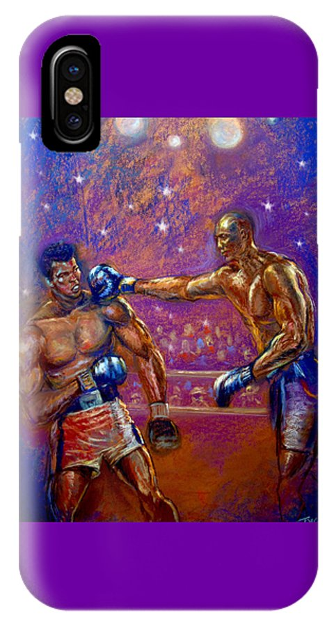 Boxing IPhone X Case featuring the pastel the Greatest Muhammed Ali vs Jack Johnson by Tommy Winn