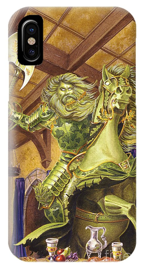 Fine Art IPhone X Case featuring the painting The Green Knight by Melissa A Benson