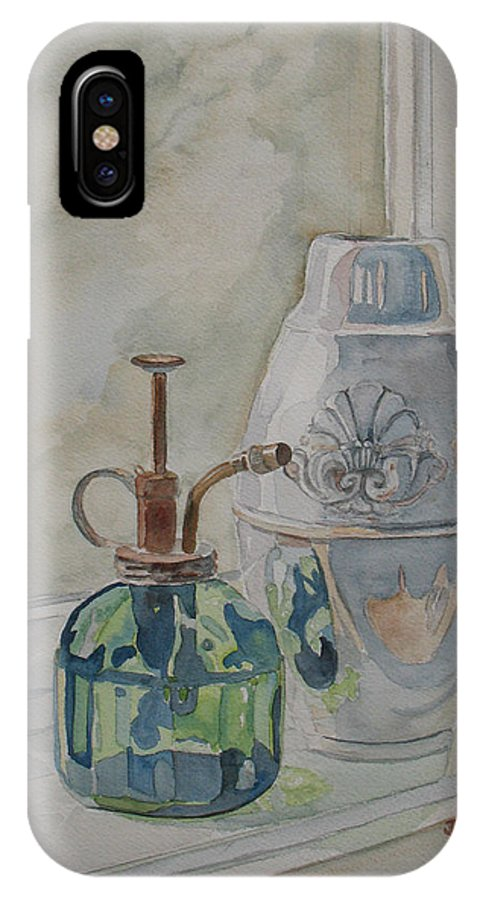 Plant Mister IPhone X Case featuring the painting The Green Mister by Jenny Armitage