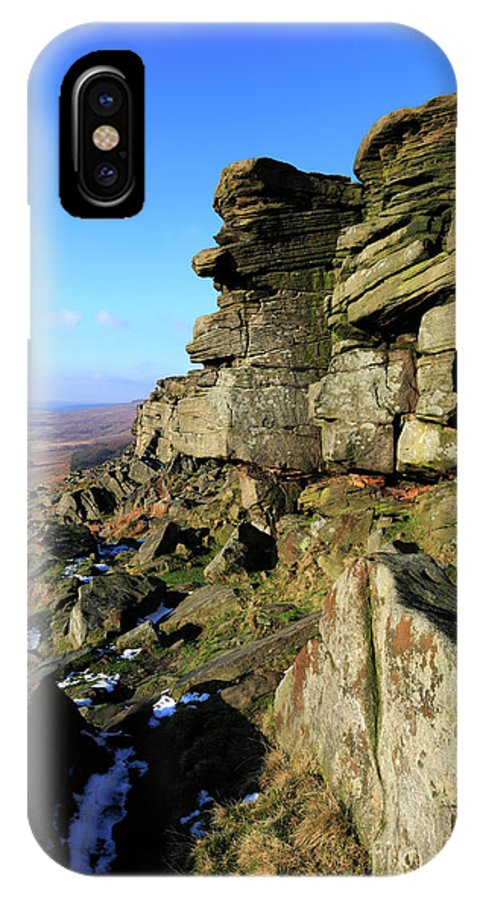 Stanage Edge IPhone X Case featuring the photograph The Gritstone Rock Formations On Stanage Edge by Dave Porter